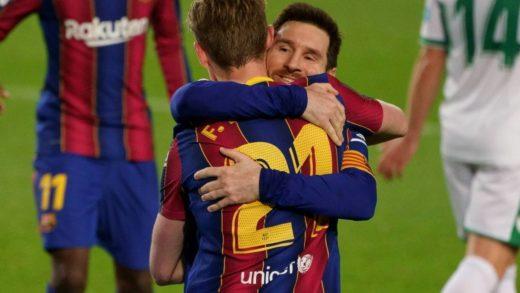 Barcelona gana 3-0 al Elche con un doblete de Leo Messi
