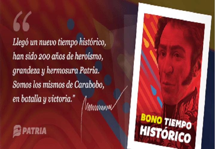 Régimen inicia el pago del «Bono Tiempo Histórico»