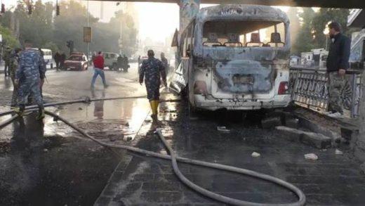 Ataque terrorista contra autobús militar en Damasco dejó 14 muertos